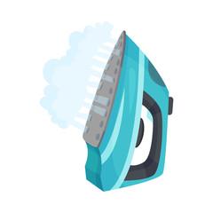 Fototapeta Blue iron with steam. Vector illustration on a white background. obraz