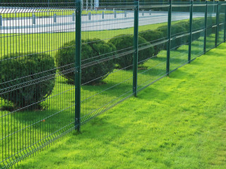 neat fence and shrubs near the parking in the city