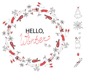 Isolated on white background vector set of winter circle ornament tangle with handwritten greeting message Hello winter and winter elements - snowman, snowflake, fir tree