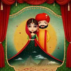 Fantasy concept illustration or poster for invitation wedding india.