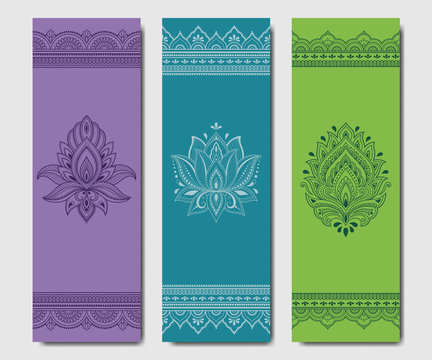 Set of design yoga mats. Floral and mandala pattern in oriental style for decoration sport equipment. Colorful ethnic Indian ornaments for spiritual serenity. Decor of business card, poster, print.