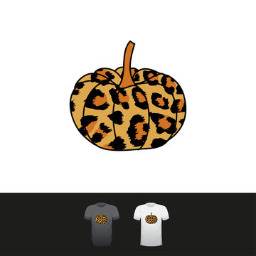 Leopard pumpkin - Hand drawn vector illustration. Autumn color poster. Good for scrap booking, posters, greeting cards, banners, textiles, gifts, shirts, mugs or other gifts.