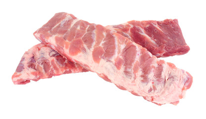 Racks of fresh raw pork meat ribs isolated on a white background Wall mural