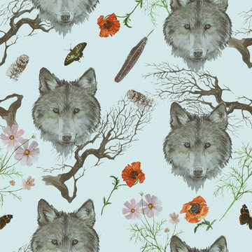 Seamless watercolor pattern with wolf heads, flowers, branches.