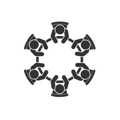 Business meeting icon. Group of six people sitting around a table brainstorming and working together on new creative projects. Top view vector design. Conference session.