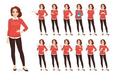 Casual business woman character in different poses set with red hair vector illustration Fotomurales