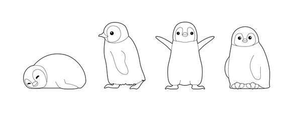 Baby Penguin Cute Cartoon Vector Coloring Book