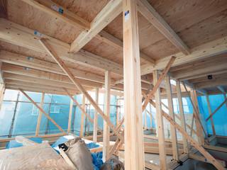 Fototapete - 建設中の木造住宅