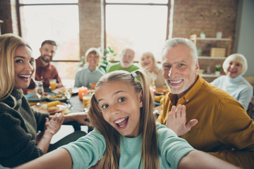 Video call from happy big family celebrate thanksgiving day october autumn event party small little girl kid make selfie mature grandfather say hi wave hand grandmother enjoy meal in house