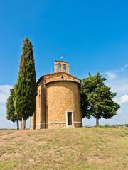 Famous chapel Cappella Madonna di Vitaleta near Pienza, Siena province, Tuscany, Italy