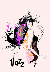 Tuinposter Art Studio Silhouette of a fashion beautiful girl from colorful splashes and waves. Hand drawn vector illustration.