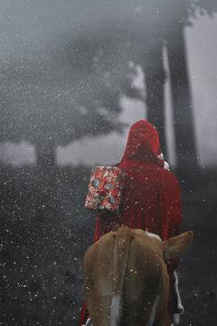 Weihnachtsmann mit Ochse im verschneiten Wald