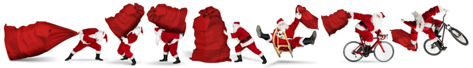 Set collection of crazy red traditional santa claus with bag extreme funny with sleigh bike bicycle...
