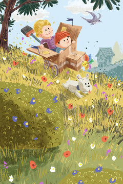 Illustrazione bambini e cane su prato