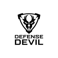 Defense Tactical shield skull logo design template for military, armory, tactical, gear, shop, weapon, army, and other.