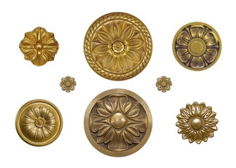 Set of golden decorative elements with floral pattern isolated on white background