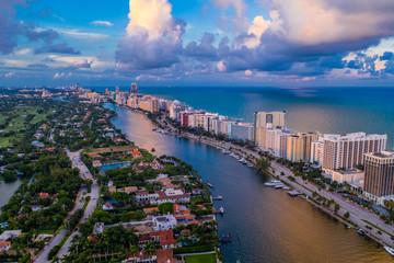 Aerial photo Miami Beach Indian Creek colorful scene