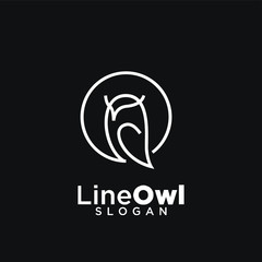 Wall Murals Owls cartoon owl line logo icon design vector illustration with black background