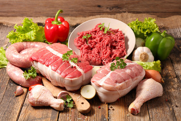 assorted of raw meat, roast beef- sausage- chicken Wall mural