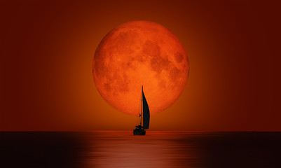 Deurstickers Rood paars Lone yacht with full moon