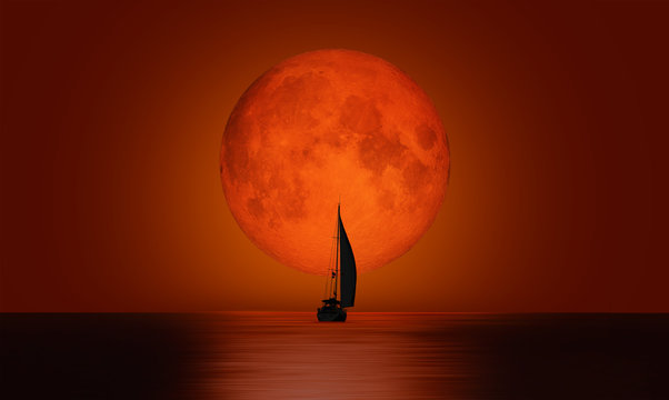 """Lone yacht with full moon """"Elements of this image furnished by NASA """""""