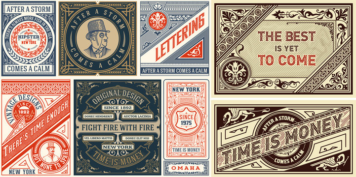 Set of 8 Vintage Labels Templates. Vector layered