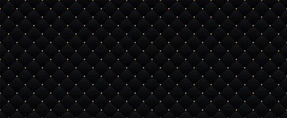Foto auf AluDibond Künstlich Black dark elegant seamless pattern in retro style with a little gold dots. Can be used for premium royal party. Luxury poster BG template with vintage leather texture. Background for Invitation card