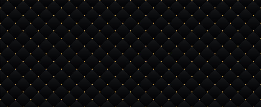 Black dark elegant seamless pattern in retro style with a little gold dots. Can be used for premium royal party. Luxury poster BG template with vintage leather texture. Background for Invitation card