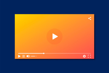 Modern interface video player. Template for applications and web technology. Blue background. Screen video player. Vector digital illustration. Multimedia interface.