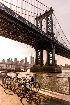 Manhattan Bridge in New York City seen from Brooklyn Bridge Park
