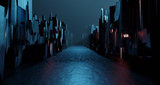 Sci-fi dark landscape metal block fantastic street house. Surreal alien city concept. 3D rendering