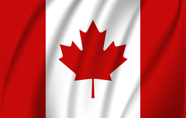 Realistic waving flag of the Waving Flag of Canada, high resolution Fabric textured flowing flag,vector EPS10