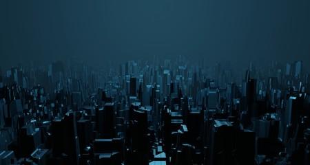 Sci-fi night landscape fantastic empty city light blue neon glow top view. Surreal alien architecture concept. 3D rendering