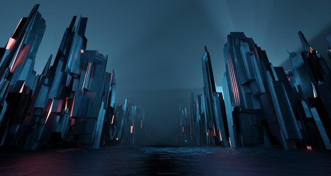 Sci-fi dark landscape metal block fantastic street house light by blue neon glow. Surreal alien city concept. 3D rendering