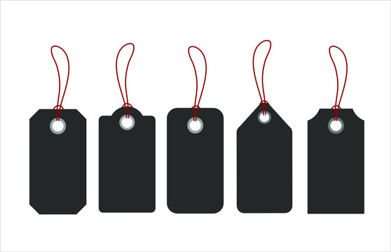 Blank tags or sale shopping labels set with rope. Vector illustration
