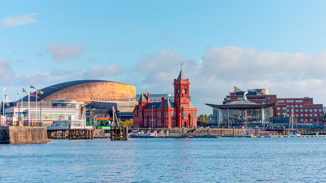 Panoramic view of the Cardiff Bay - Cardiff, Wales
