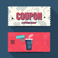 Coffee shop coupon ticket card. element template for graphics design. Vector illustration
