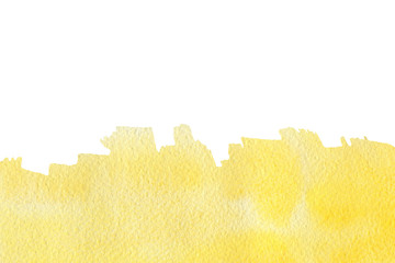 Abstract yellow watercolor textured background on a white isolated background