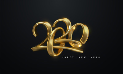 Happy New 2020 Year. Holiday vector illustration of golden metallic calligraphic numbers 2020. Realistic 3d sign. Festive poster or banner design. Modern lettering composition