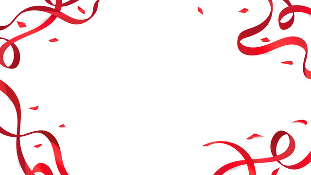 Confetti and red ribbons on floor white background, paper celebration decorate holiday party vector illustration