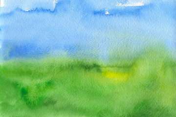 Abstract blue and green like sky and grass watercolor textured background Wall mural