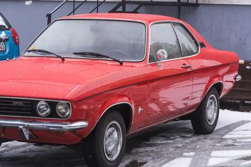 VELBERT, NRW, GERMANY - MARCH 07, 2016: Oldtimer, red Opel Manta in a public parking in Velbert, Germany.