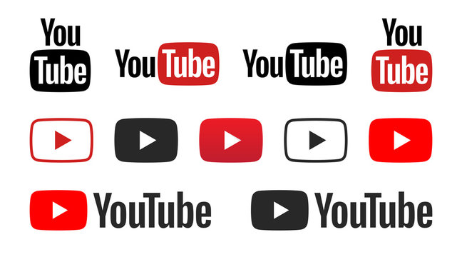 Youtube logo set in different shape on a white background