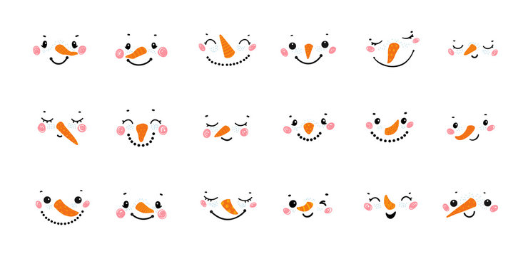 Vector Collection of Cute Snowman Faces. Cartoon Funny Doodle Snowman Head Face with Different Emotions Set. Winter Holidays, Christmas and New Year Design