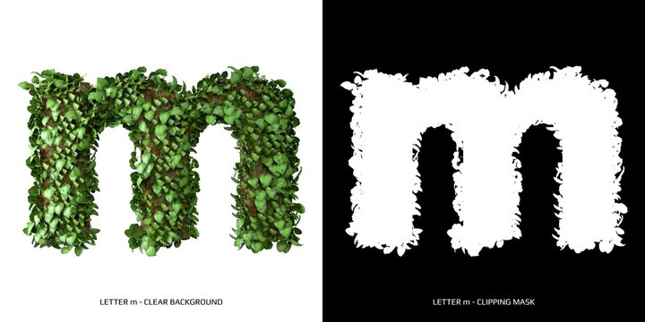 Letter m lowercase with tree shape with leaves. 3D Illustration.
