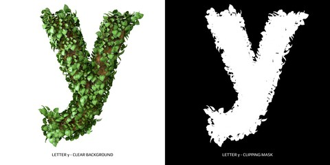 Letter y lowercase with tree shape with leaves. 3D Illustration. Wall mural