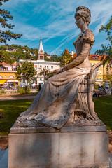 Beautiful statue of Empress Elisabeth, Sissi, at Meran, South Tyrol, Italy