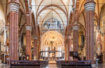 Interior decoration of catholic cathedral in Verona