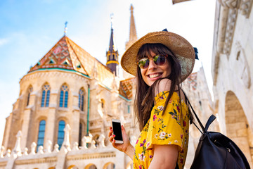 A young woman enjoying her trip to the Castle of Budapest
