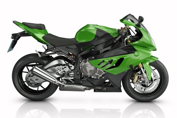 Wall Mural - Green sport motorcycle.